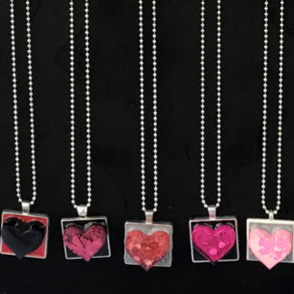 resin heart necklaces