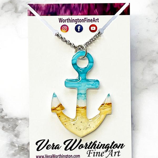 Beachy Anchor Abstract Art Pendant Necklace