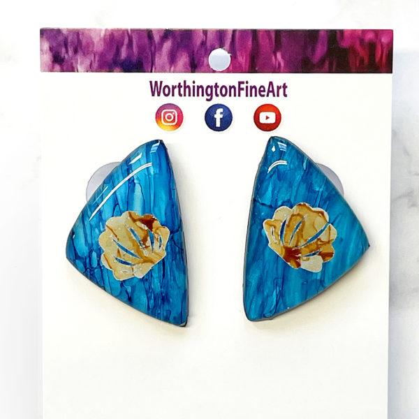 Beachy Shell Triangle Stud Earrings