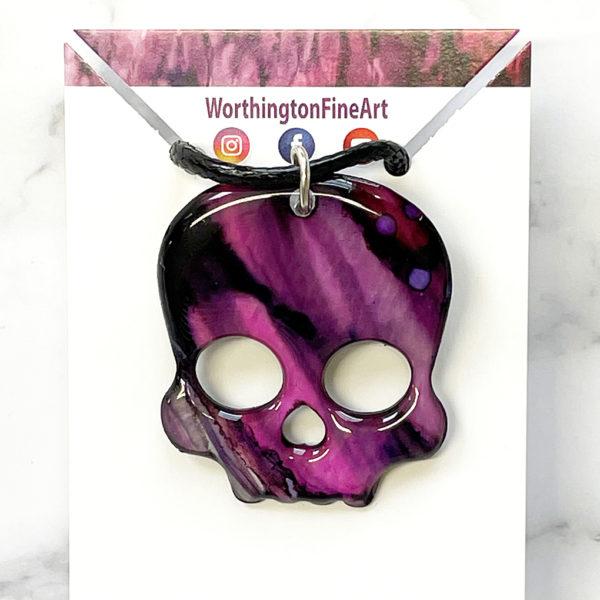 Magenta Black Skull Abstract Art Pendant Necklace