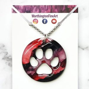 Red Black Paw Print Abstract Art Pendant