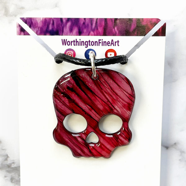 Red Skull Abstract Art Pendant Necklace
