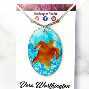 Underwater Turtle Abstract Art Pendant Necklace