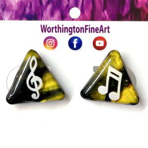 Yellow Black Triangle Music Stud Earrings